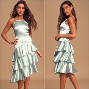 "Lulus ""Give Us A Twirl"" Ruffle Layered Midi Dress"